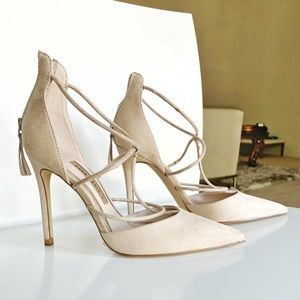 Light Cream suede heels Zara size 37